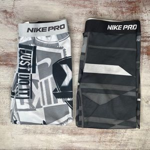 2 Nike Pro Athletic Leggings Bundle Small